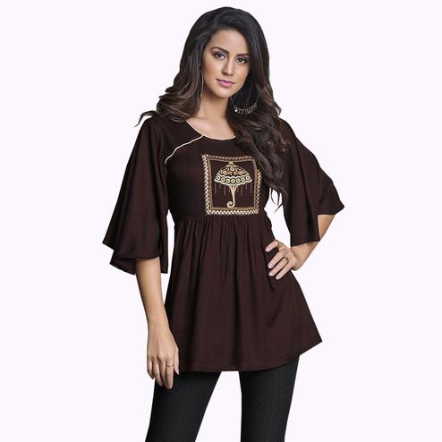 Prominent Dark Brown Colored Partywear Embroidered Rayon Western Top