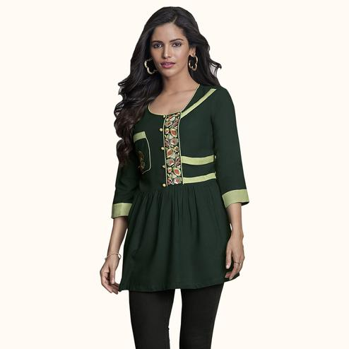 Radiant Dark Green Colored Partywear Embroidered Rayon Western Top