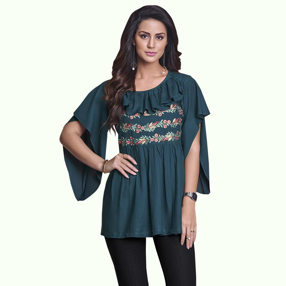 Pleasant Teal Green Colored Partywear Embroidered Rayon Western Top
