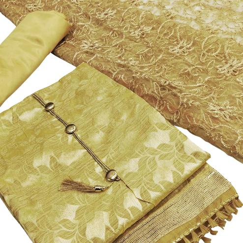 Elegant Beige Colored Partywear Embroidered Silk Dress Material