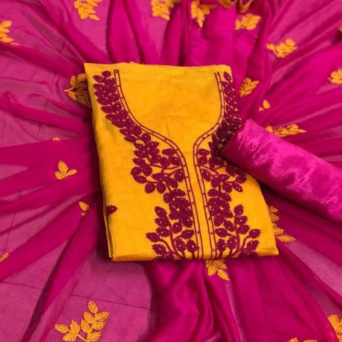Classy Orange Colored Partywear Embroidered Chanderi Silk Dress Material