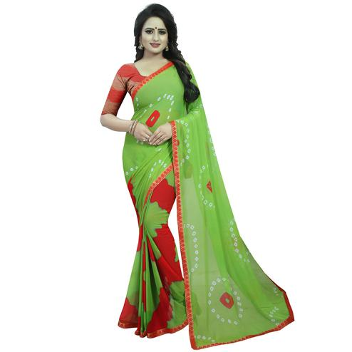 Glorious Green Colored Casual Printed Chiffon Saree