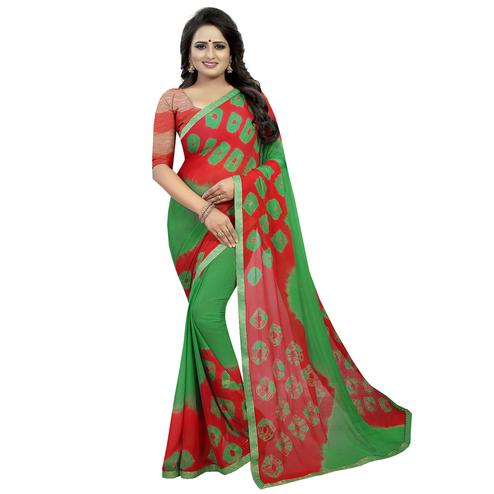 Attractive Green - Red Colored Casual Printed Chiffon Saree