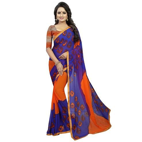 Beautiful Orange - Blue Colored Casual Printed Chiffon Saree
