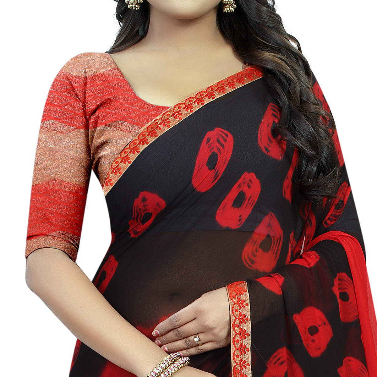 Graceful Red - Black Colored Casual Printed Chiffon Saree