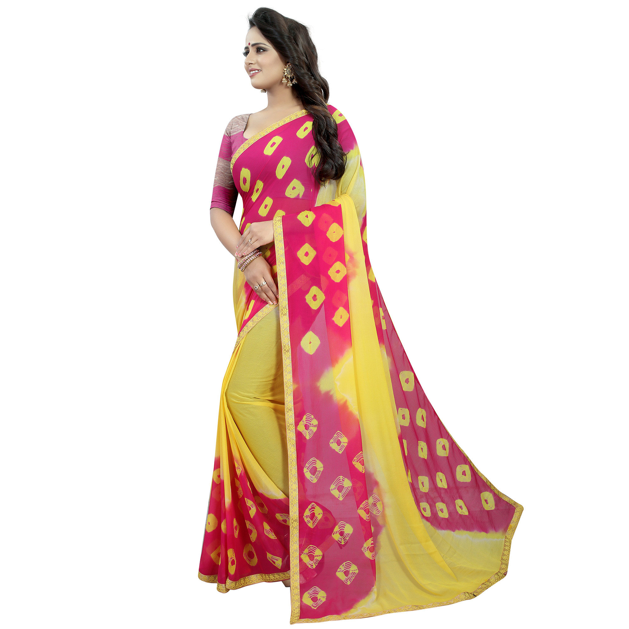 Blooming Yellow - Pink  Colored Casual Printed Chiffon Saree