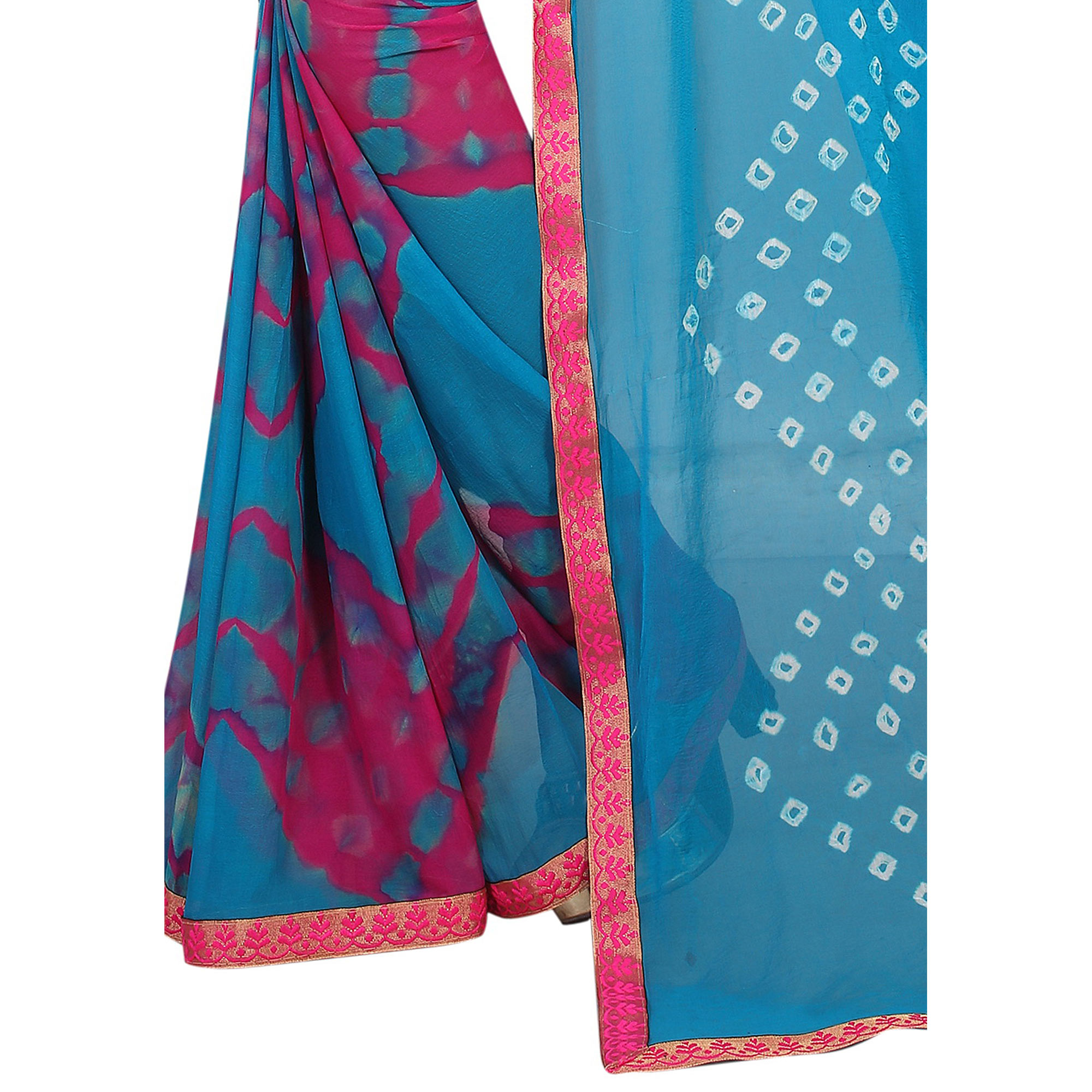 Charming Sky Blue Colored Casual Printed Chiffon Saree