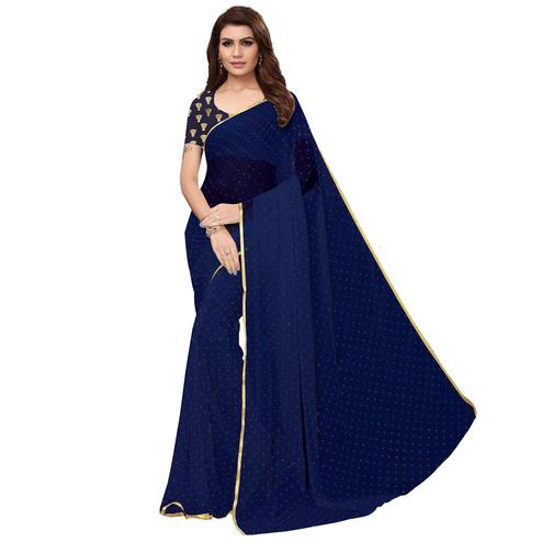 Jazzy Navy Blue Colored Partywear Chiffon Saree
