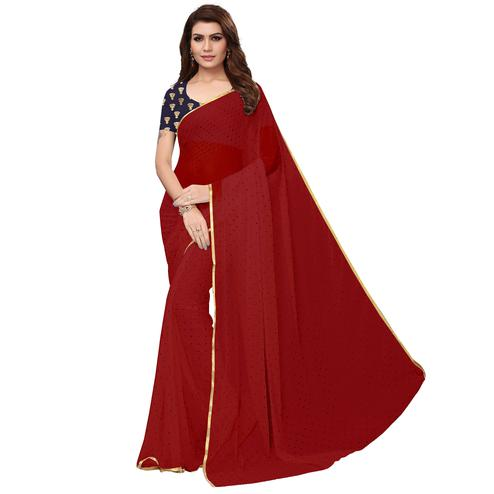 Captivating Maroon Colored Partywear Printed Chiffon Saree