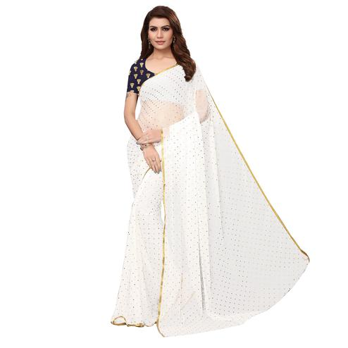 Innovative White Colored Partywear Printed Chiffon Saree