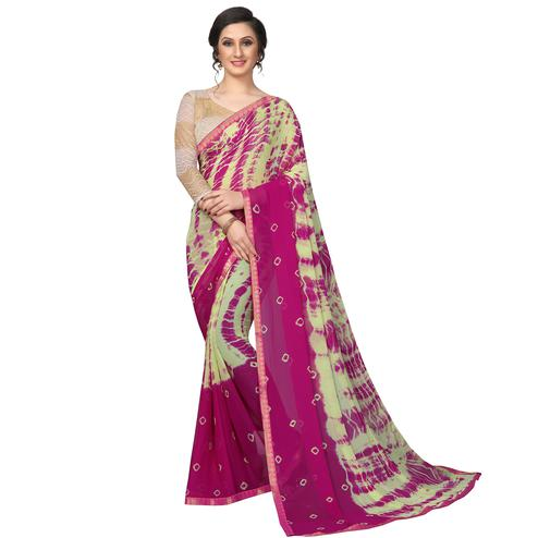 Fantastic Green - Pink Colored Casual Printed Chiffon Saree
