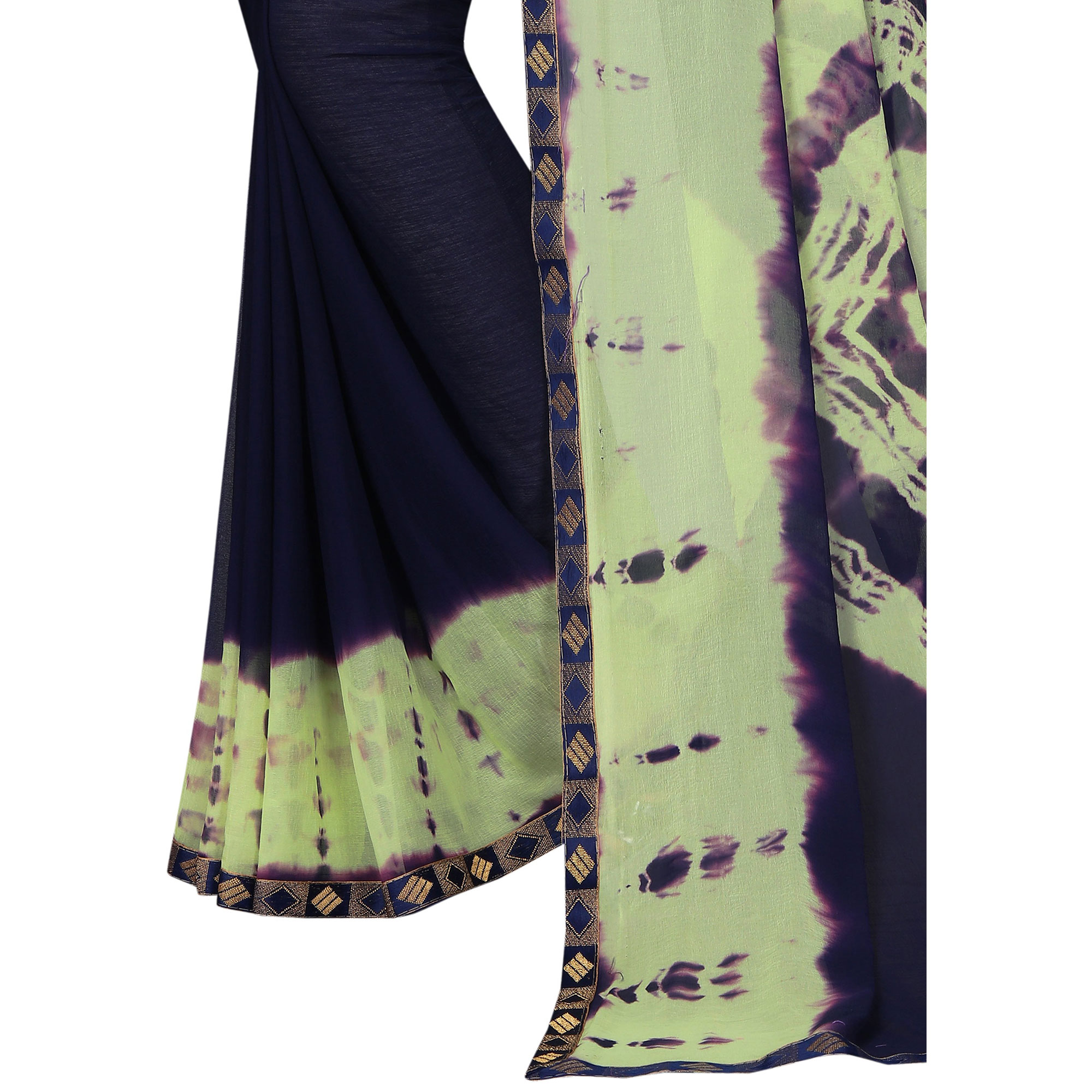 Amazing Navy Blue - Green Colored Casual Printed Chiffon Saree