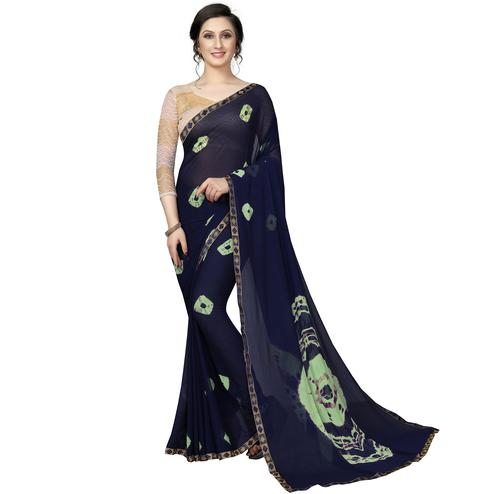 Gorgeous Navy Blue Colored Casual Printed Chiffon Saree