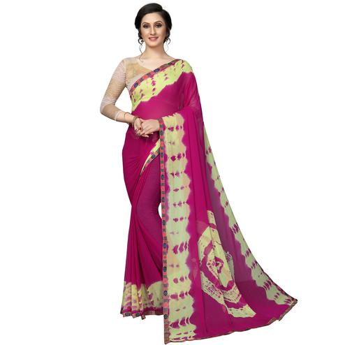 Blissful Pink Colored Casual Printed Chiffon Saree