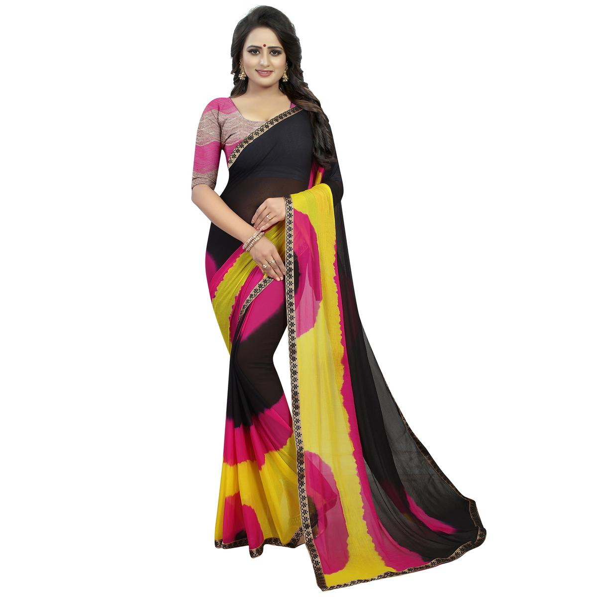 Imposing Black - Yellow Colored Casual Printed Chiffon Saree