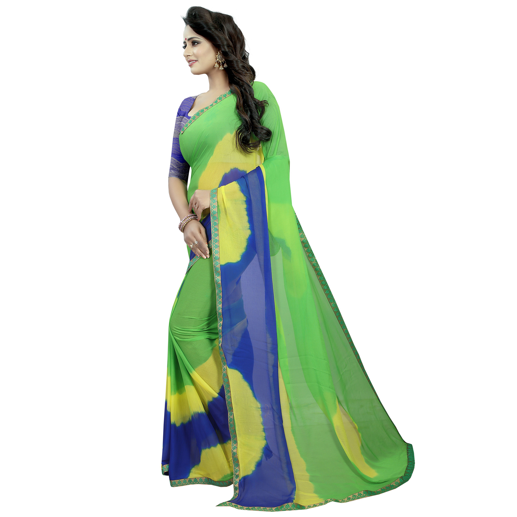 Lovely Green - Blue Color Casual Printed Chiffon Saree