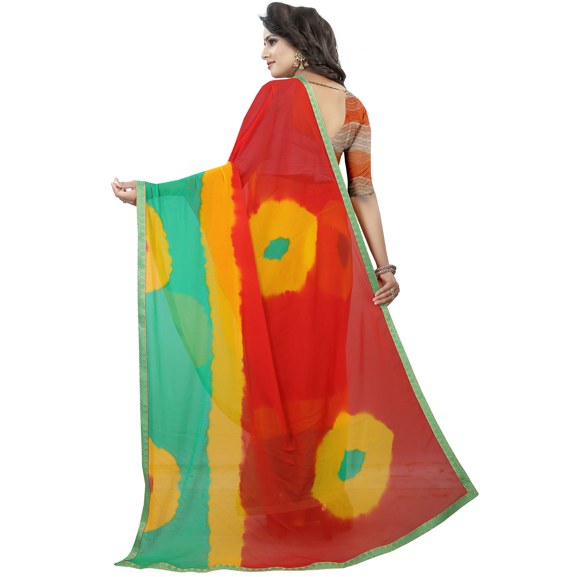 Majesty Red - Green Colored Casual Printed Chiffon Saree