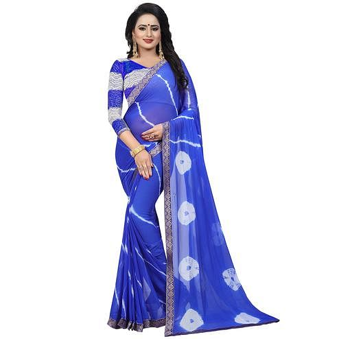 Mesmerising Royal Blue Colored Casual Printed Chiffon Saree