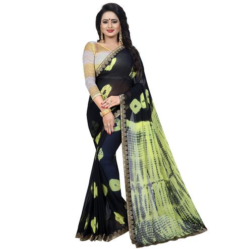 Pleasance Black Colored Casual Printed Chiffon Saree