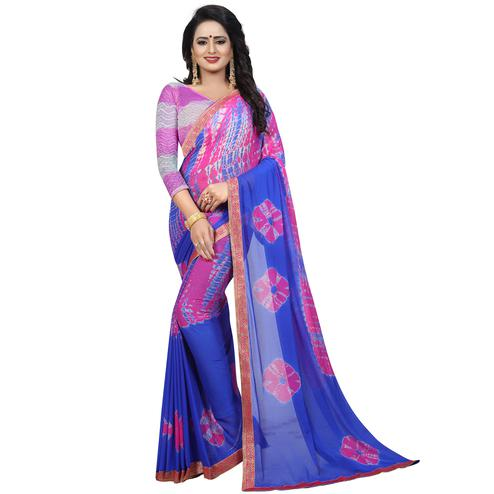 Breathtaking Blue - Pink Colored Casual Printed Chiffon Saree