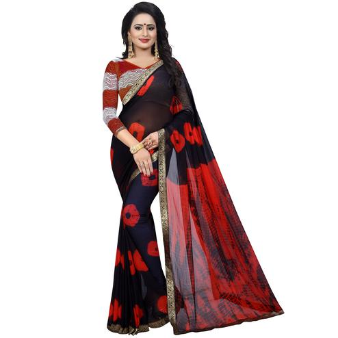 Ethnic Black - Red Colored Casual Printed Chiffon Saree