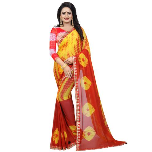Ravishing Yellow - Red Colored Casual Printed Chiffon Saree