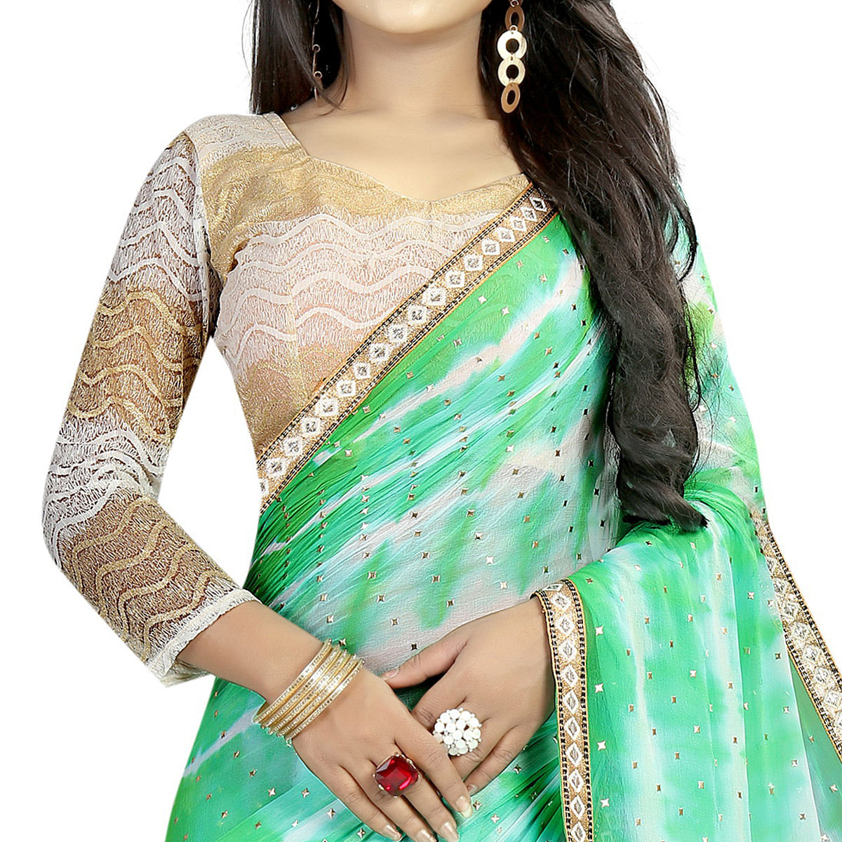 Staring Green Colored Partywear Printed Chiffon Saree