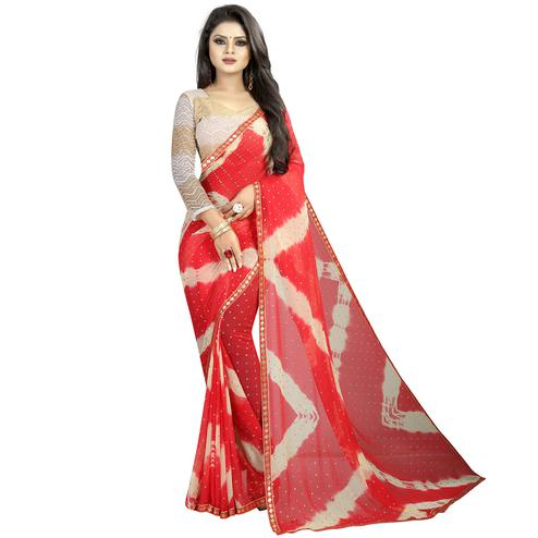 Flattering Red Colored Partywear Printed Chiffon Saree