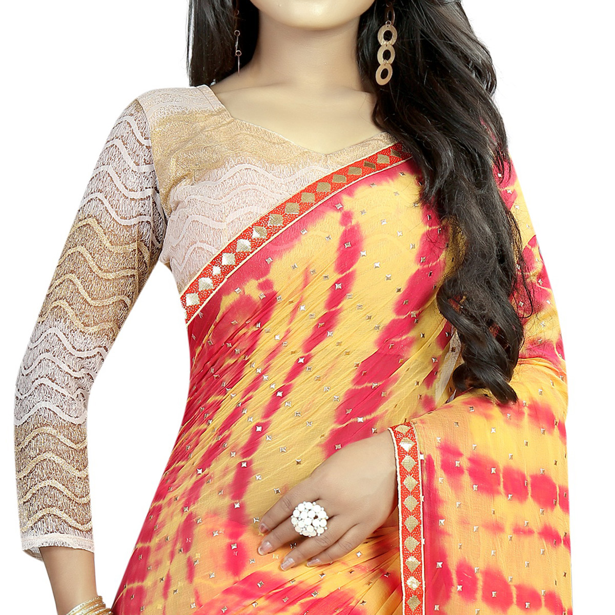 Excellent Yellow Colored Partywear Printed Chiffon Saree