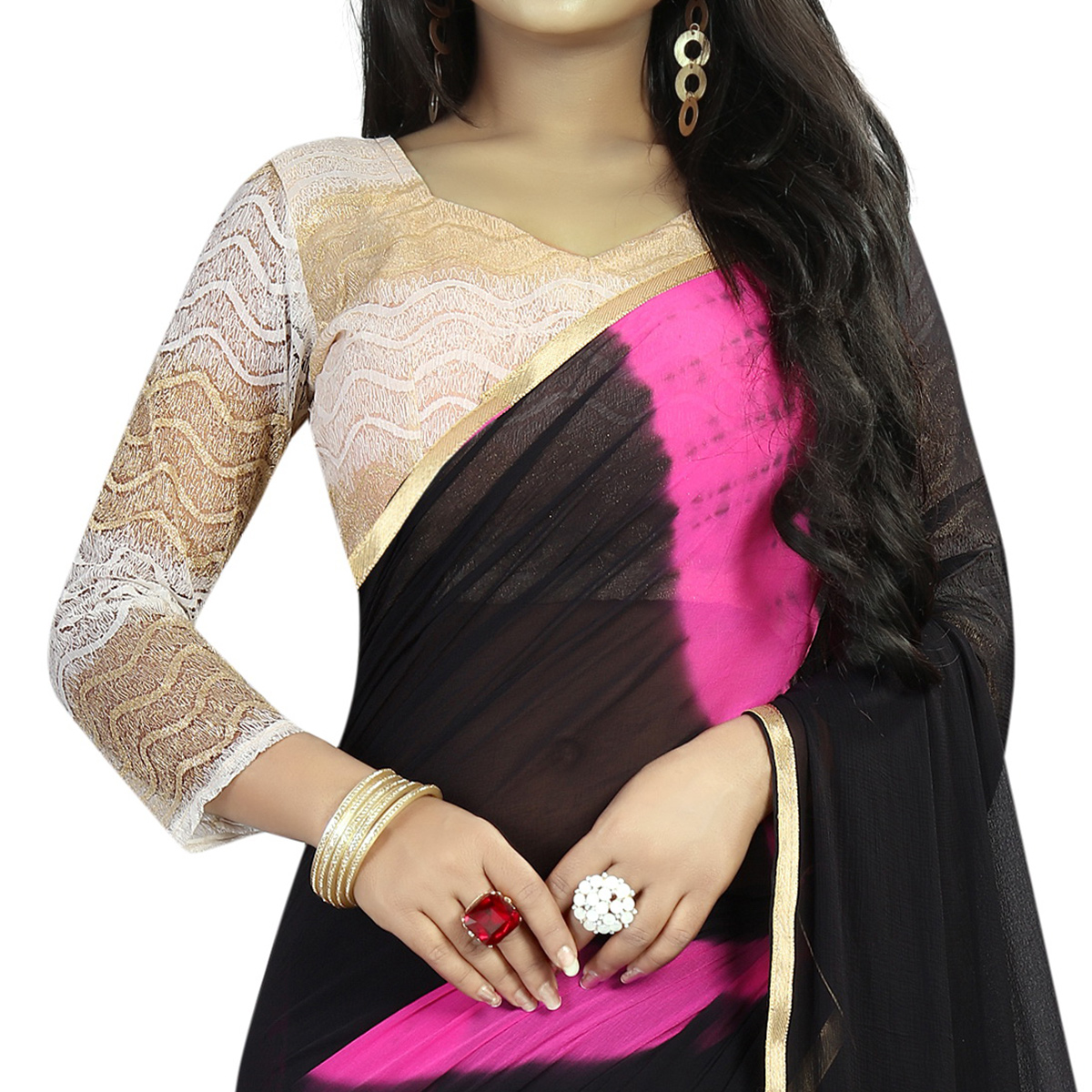 Preferable Black Colored Casual Printed Chiffon Saree