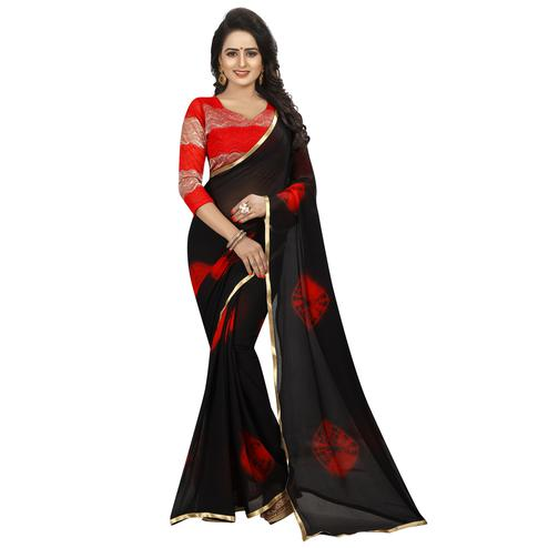 Alluring Black Colored Casual Printed Chiffon Saree