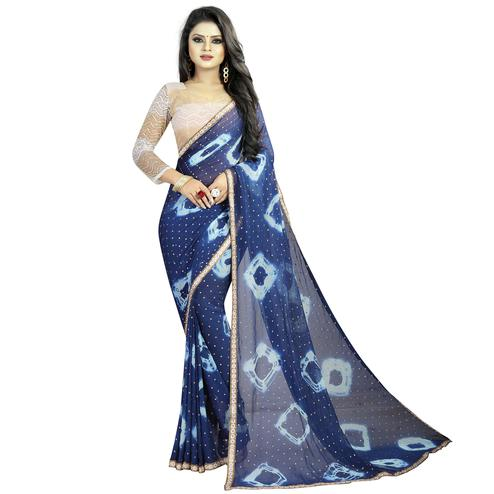 Sensational Blue Colored Partywear Printed Chiffon Saree
