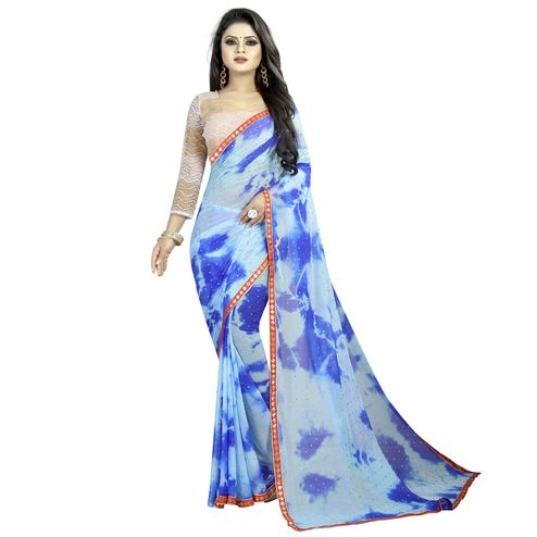 Flaunt Sky Blue Colored Partywear Printed Chiffon Saree