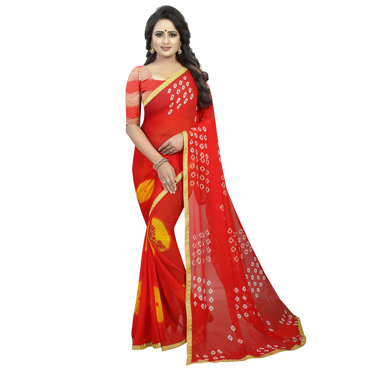 Gleaming Red Colored Casual Printed Chiffon Saree