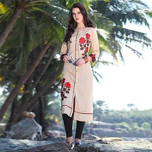 Lovely Beige Designer Casual Rayon Kurti