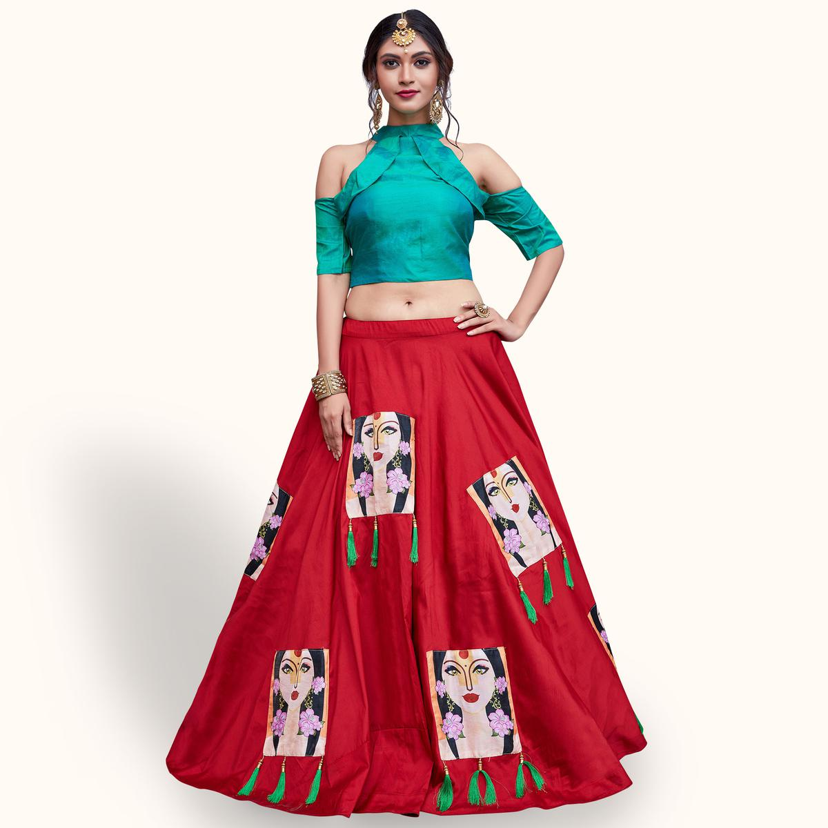 Stunning Red Colored Partywear Fancy Crepe Lehenga Choli