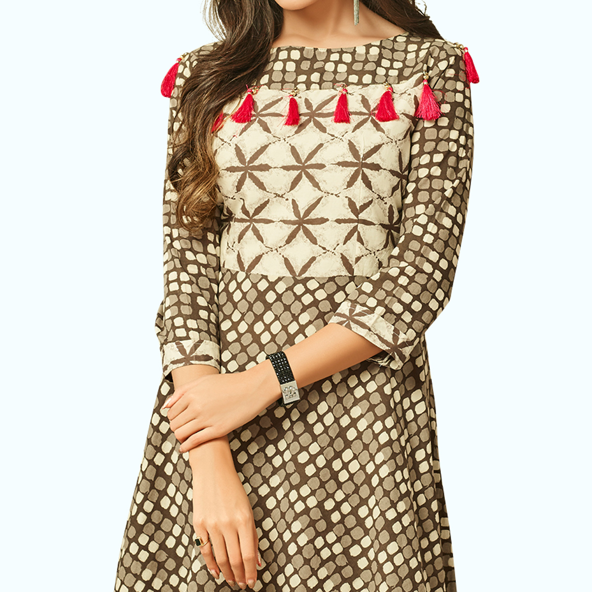 Stunning Brown Colored Partywear Printed Rayon Long Kurti