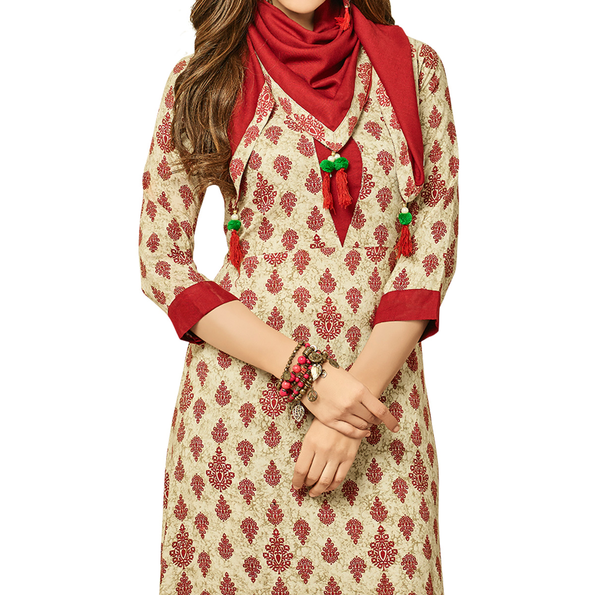 Appealing Beige Colored Partywear Printed Rayon Long Kurti