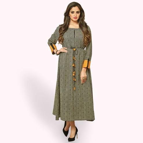 Flamboyant Black Colored Partywear Printed Rayon Long Kurti