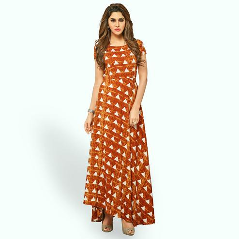 Marvellous Orange Colored Partywear Printed Rayon Long Kurti