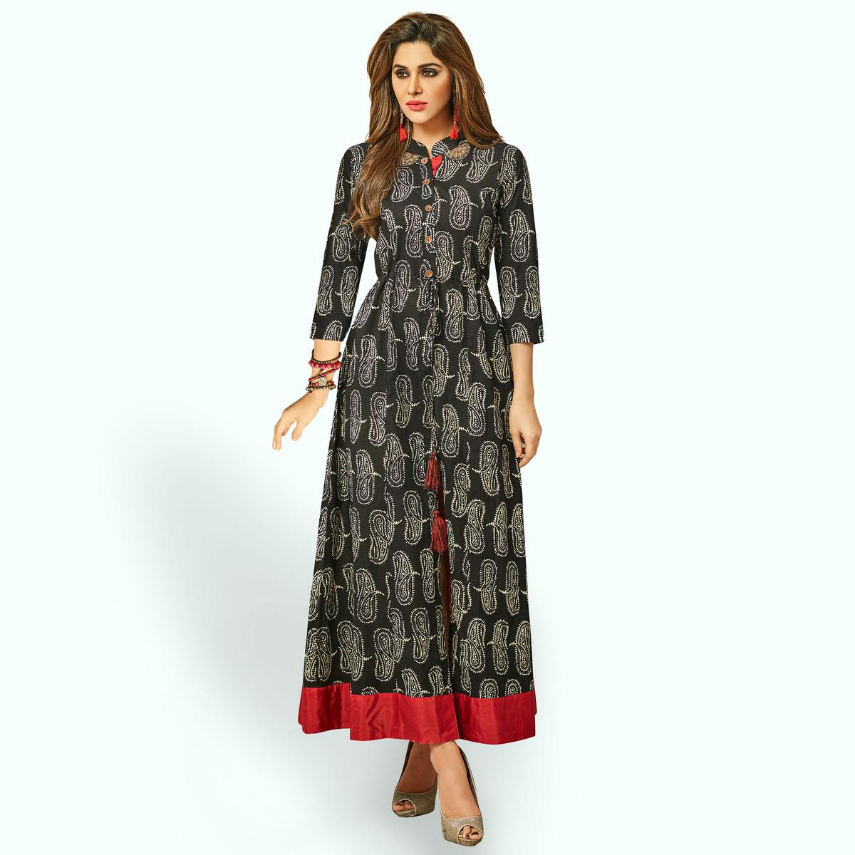 Stylish Black Colored Partywear Printed Rayon Long Kurti