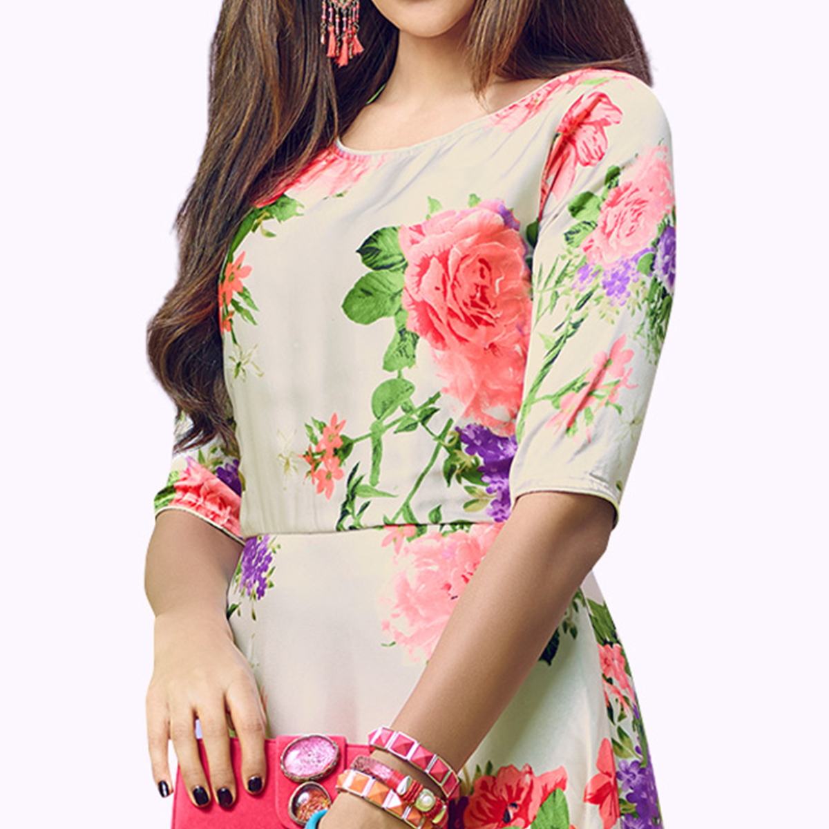 Glowing Cream Colored Partywear Printed Satin Kurti