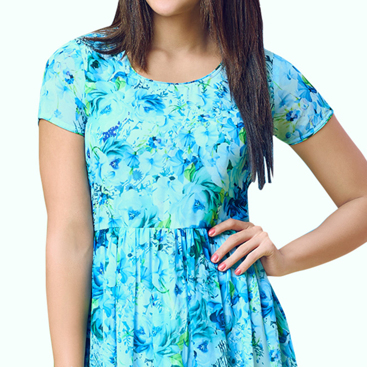 Exceptional Aqua Blue Colored Partywear Printed Georgette Kurti