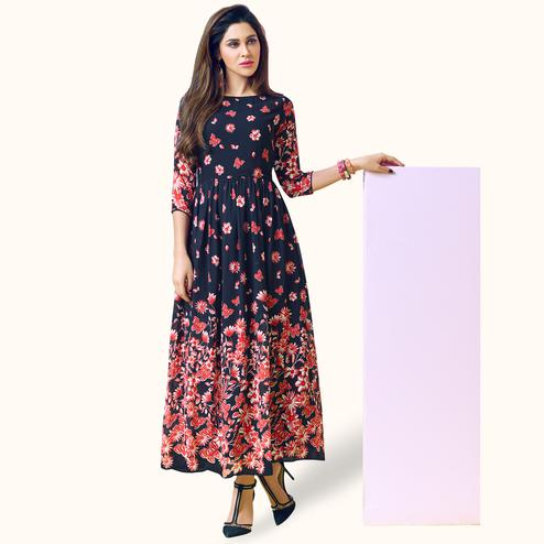 Gleaming Navy Blue Colored Partywear Printed Georgette Kurti