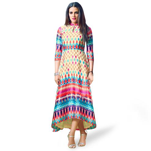 Mesmeric Light Yellow Colored Partywear Printed Satin Kurti