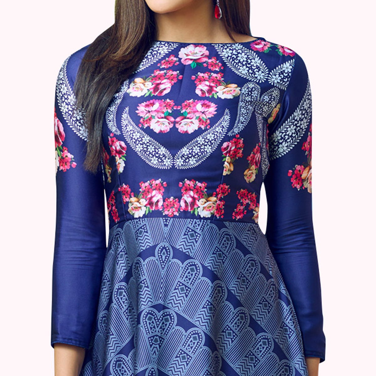 Unique Navy Blue Colored Partywear Printed Satin Kurti