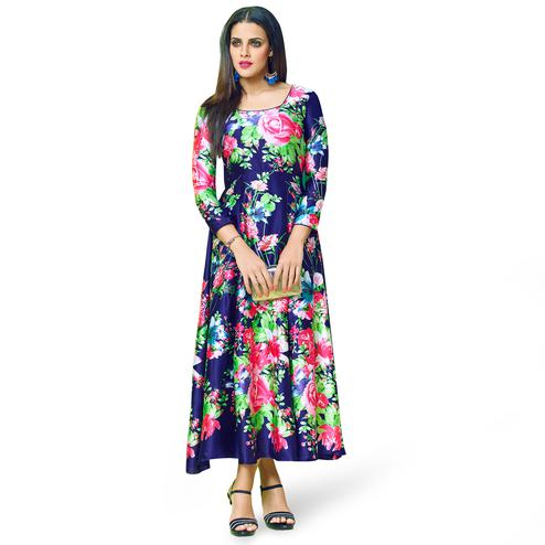 Refreshing Navy Blue Colored Partywear Printed Georgette Satin Kurti