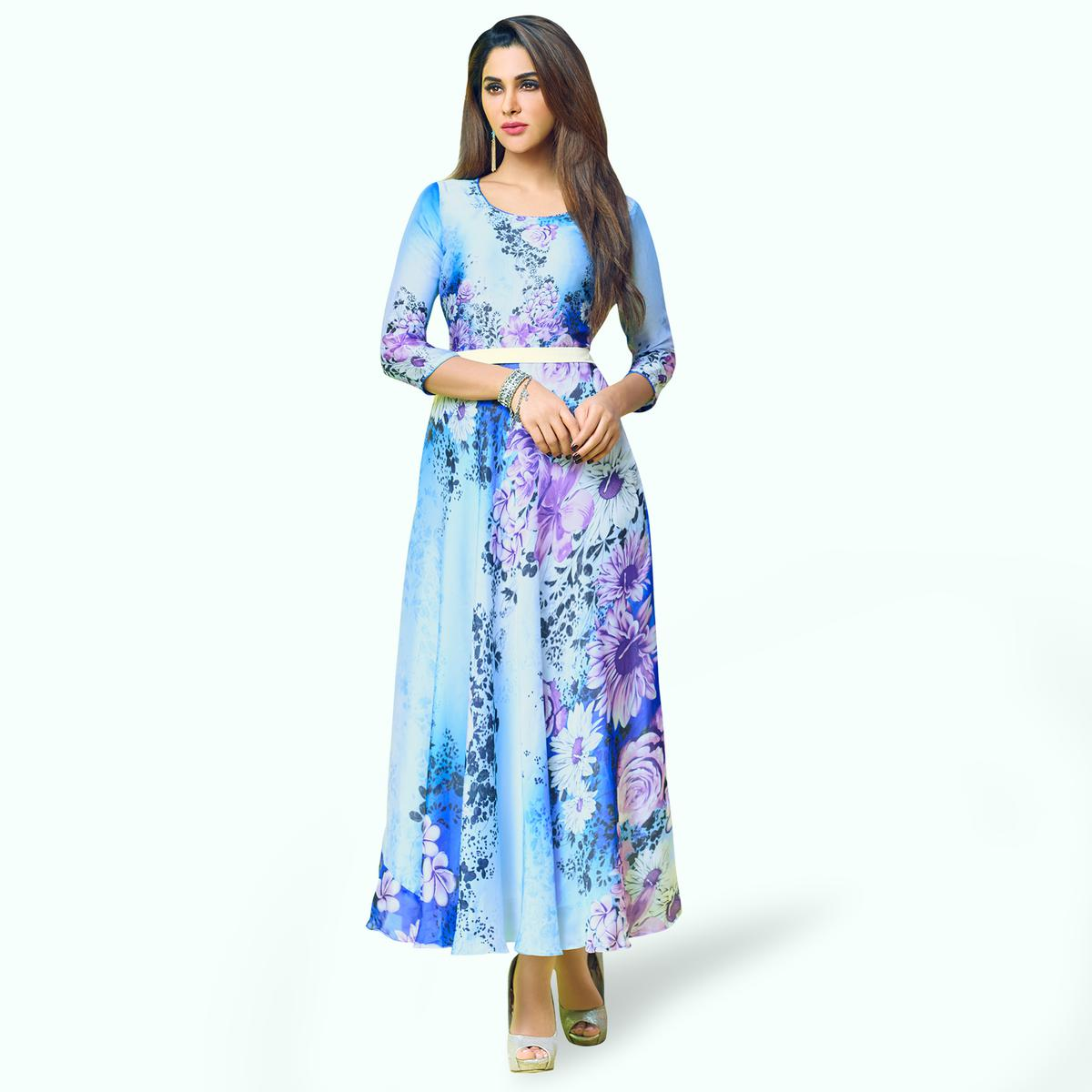 Magnetic Sky Blue Colored Partywear Printed Georgette Satin Kurti