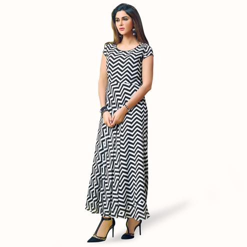 Hypnotic Black-White Colored Partywear Printed Georgette Kurti