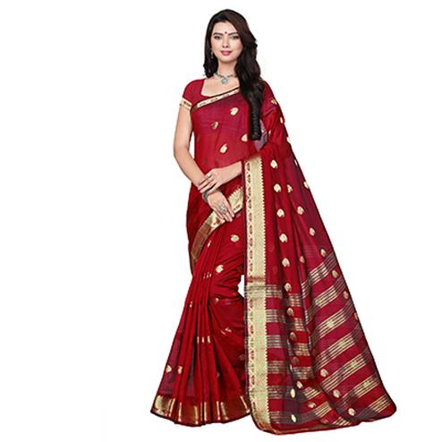 Maroon Cotton Weaving Work Saree